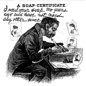 """Harry Furniss - """"I used your soap two years ago and have not used any other since"""", a Punch cartoon drawn by Furniss, parodying Thomas J. Barratt's adverts for Pears soap"""