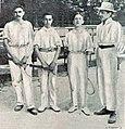 G. à D. Gillon, Max Decugis, Maurice Germot et Marcel Vacherot, vainqueur du championnat interscolaire de tennis en juin 1900.jpg