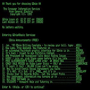 GEnie - GEnie log-in screen from February 1993, as it would have appeared on an Apple IIe