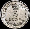 GOW 5 kreuzer 1858 V reverse.jpg