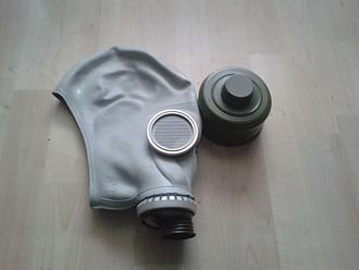 GP-5 gas mask - The SHM-62u face piece with its filter.
