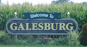 "Galesburg, Illinois - ""Welcome to Galesburg"" sign"