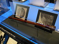 A replica of the earlest surviving telescope attributed to Galileo Galilei, on display at the Griffith Observatory