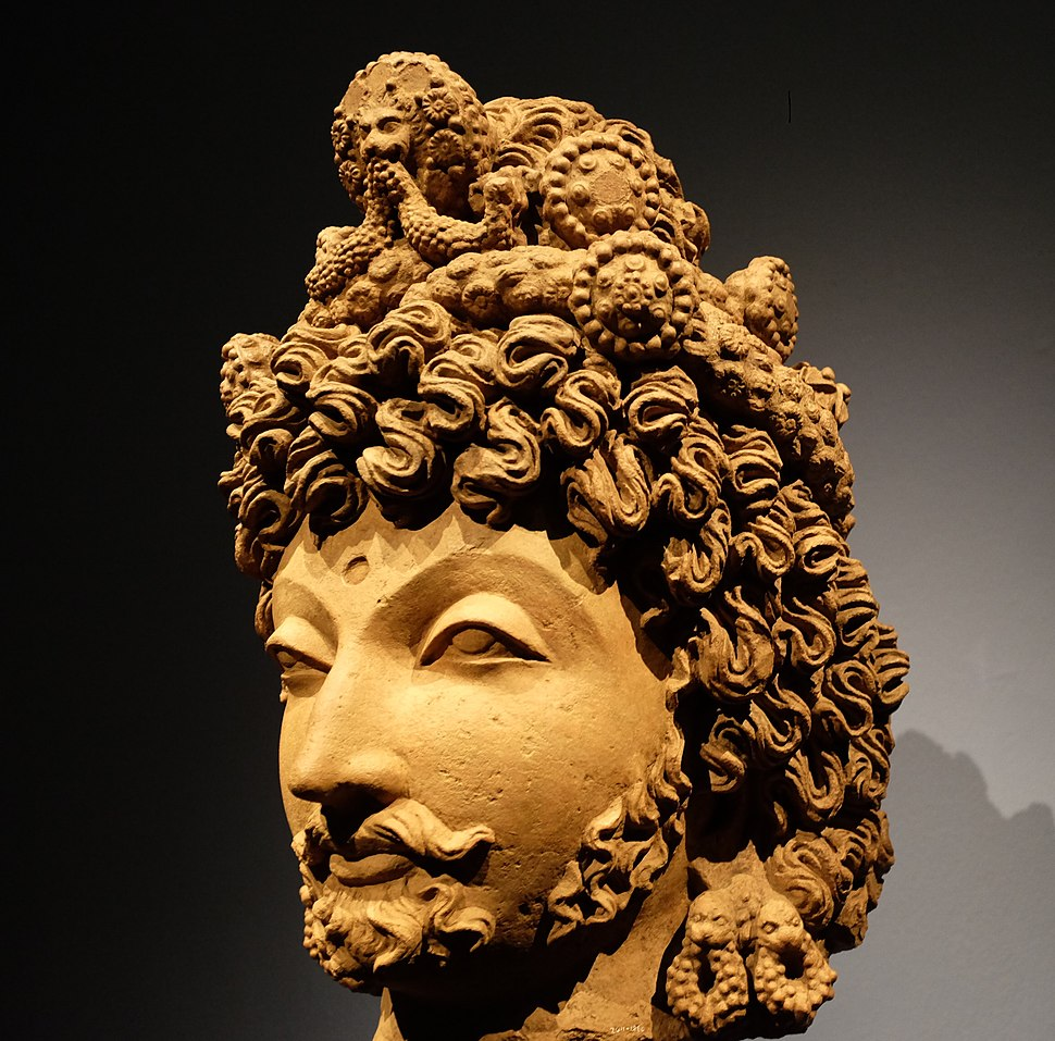 Gandharan sculpture - head of a bodhisattva