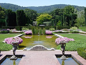 National Register of Historic Places listings in San Mateo County, California - Image: Garden pool in Filoli, Woodside, California