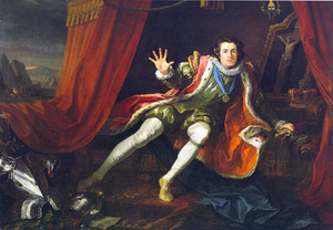 Richard III (1699 play) - David Garrick as Richard III, oil on canvas by William Hogarth (1745). The painting depicts a scene from Colley Cibber's adaptation of the William Shakespeare play. The king has just awakened from a nightmare. The painting was made in 1745, but based on Garrick's appearance in 1743.