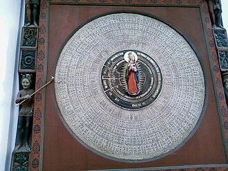 Clock face - 15th-century rotating dial clock face, St. Mary's Church, Gdańsk, Poland.