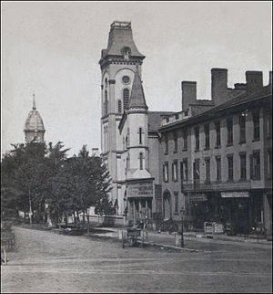 Geddes, New York - Village of Geddes, 1624 West Genesee Street - old town square about 1875 - by Robert N. Dennis