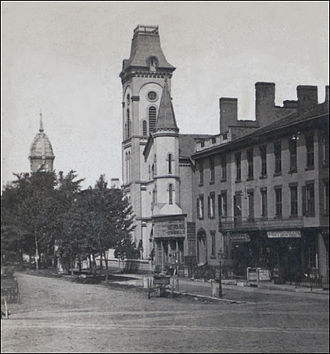 Far Westside, Syracuse - The old town square, 1624 West Genesee Street, Village of Geddes, circa 1875. By Robert N. Dennis