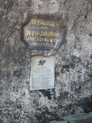 Bastei - Memorial tablet on a rock by the Bastei bridge