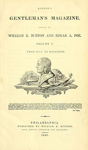 Burton's Gentleman's Magazine - Frontispiece for Volume 5 (July-December 1839) of Burton's Gentlemen's Magazine, listing both Burton and Poe as editors