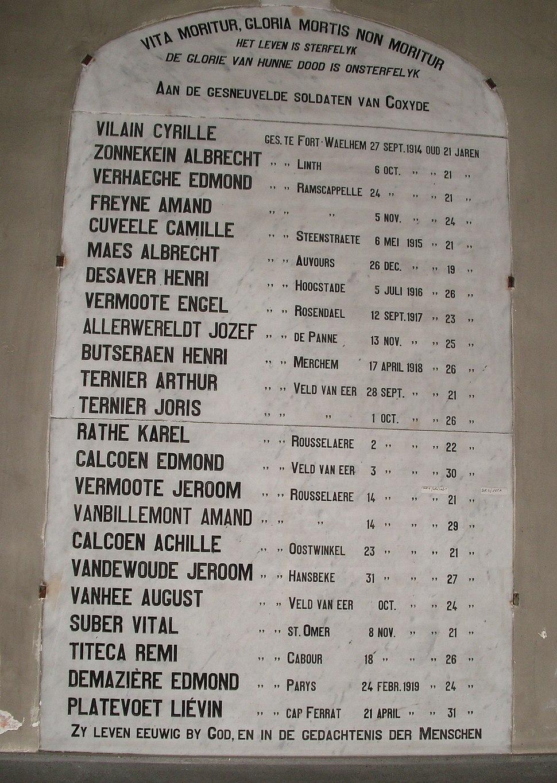Gesneuvelden Koksijde - België