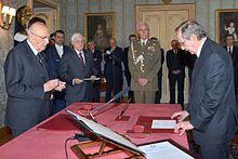 Pier Carlo Padoan giura come ministro dell'economia e delle finanze del Governo Renzi