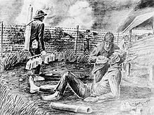 A black-and-white pencil drawing of a man giving another a drink from a canteen. They are located in an enclosure surrounded by barbed wire with guards holding guns patrolling the perimeter.