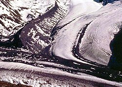 Lateral moraine on a glacier joining the Gorner Glacier, Zermatt, Switzerland. The moraine is the high bank of debris in the top left hand quarter of the picture. For more explanation, click on the picture.