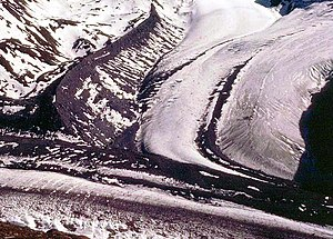 Glaciology - Lateral moraine on a glacier joining the Gorner Glacier, Zermatt, Swiss Alps. The moraine is the high bank of debris in the top left hand quarter of the image.
