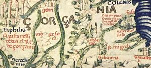 "Name of Georgia (country) - ""Gorgania"" i.e. Georgia on Fra Mauro map."