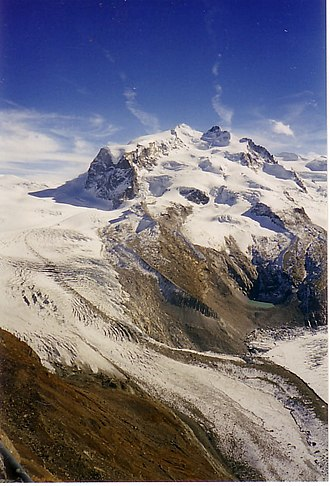 Gorner Glacier - Gorner Glacier (left), central Monte Rosa massif with Monte Rosa Glacier, and the confluence with the Border Glacier (2006)