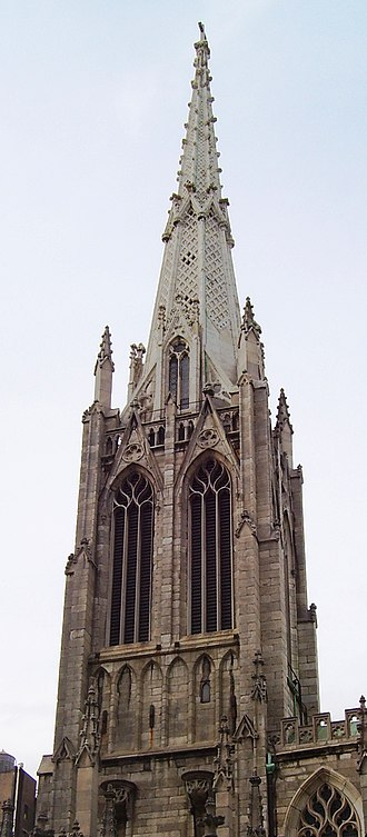 Grace Church (Manhattan) - The marble steeple was installed in 1883, and had its lean fixed in 2003.