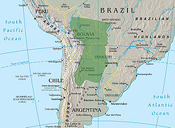 Very approximate location and borders of the Gran Chaco. The natural border to the west is the Andes and, to the east, the Paraguay River. Northern and southern borders are less well-defined. (Underlying map taken from the CIA World Factbook)