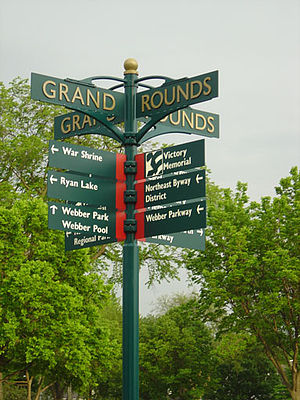Grand Rounds National Scenic Byway - A street sign along the Grand Rounds