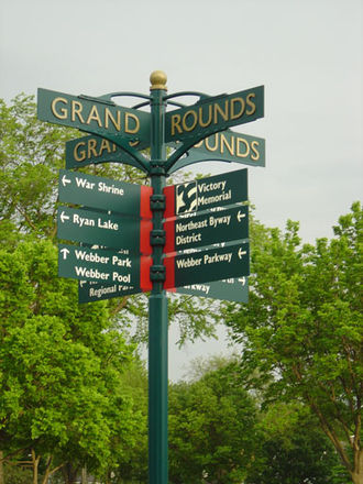 Victory Memorial Parkway - A street sign displays Victory Parkway's many scenic attractions