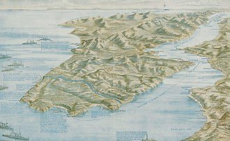 Gallipoli Campaign - Graphic map of the Dardanelles