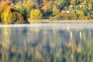 English: Grasmere Early morning mist just diss...