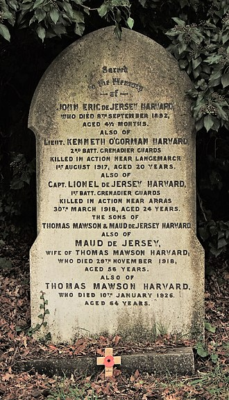 Lionel de Jersey Harvard - Family stone at Brockley and Ladywell Cemeteries