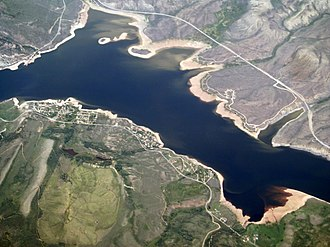 Green Mountain Reservoir - Aerial view of the reservoir in 2017