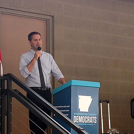 Greg Leding, born and raised in Washington County, represents the only Senate district entirely within Washington County Greg Leding, Springdale Rally 001.jpg