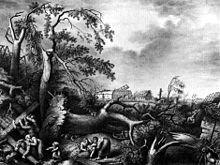 """""""Grossen Buchholz nach der Windsbraut"""" vom 17. September 1830;Lithografie """"Zum Besten der Armen"""" von Julius Giere nach Ramberg (Quelle: Wikimedia)"""