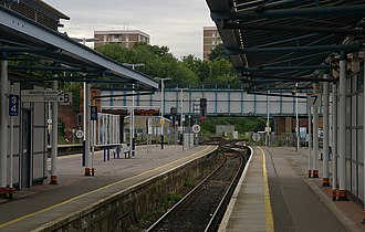 Guildford railway station - Platforms 6 and 7 serve the same single line.