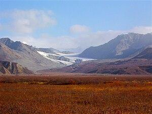 Gulkana Glacier - Gulkana Glacier seen from Isabel Pass, about 12 miles north of Paxson, Alaska in September, 2010.
