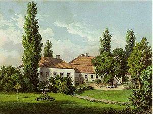 Ogrodzieniec, Warmian-Masurian Voivodeship - Neudeck manor in 1860, lithograph by Alexander Duncker