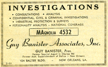 A 1959 Guy Banister Associates Yellow Pages advertisement, New Orleans Telephone Directory