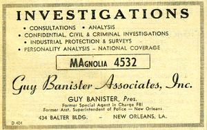 Guy Banister - 1959 Guy Banister Associates, Inc. Yellow Pages advertisement, New Orleans Telephone Directory.