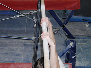 Horizontal bar - Image: Gymnast using overhand grip