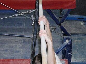 Horizontal bar - Image: Gymnast using overhand grip