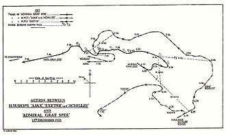 Battle of the River Plate - HMSO chart of the engagement