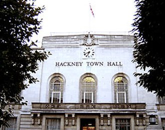 Metropolitan Borough of Hackney - Hackney Town Hall. Headquarters of the Metropolitan borough, still used by the London borough (October 2005)