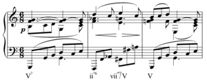 Half-diminished seventh chord - Image: Half diminished secondary leading tone chord in Brahms op 119 no 3