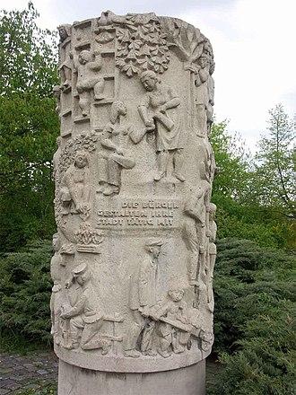 """Halle-Neustadt - The Elan der frühen Jahre: """"Aufbauhelfer"""" (Elan of the early years: """"reconstruction workers"""") (1975) by Rudolf Hilscher."""