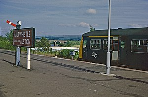 Haltwhistle railway station - The Alston train waits in June 1973
