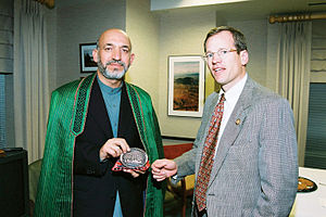 English: Afghan Interim Chairman Hamid Karzai ...