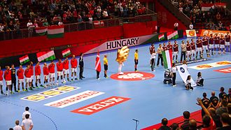 Hungary national handball team - Hungarian national team in 2016 European Championship against Denmark