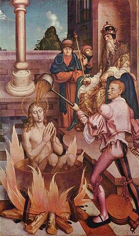 Иоанн Богослов в кипящем масле (Ханс Фрис, 1514)