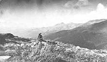 Vintage photograph of Harry Yount atop the Berthoud Pass in the Rocky Mountains