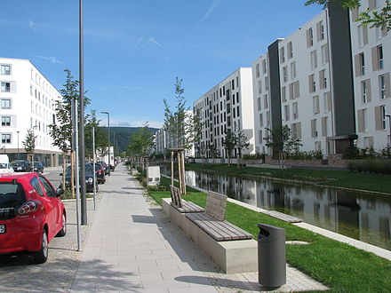 The New city district of Heidelberg, Bahnstadt, is one of the biggest passive house settlements in the world Heidelberg Bahnstadt Langer Anger 2.JPG
