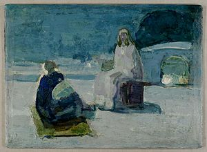 Study for Christ and Nicodemus on a Rooftop